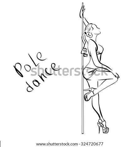 Beautiful girl , pole dance , dancer , sketch, vector on a white background - stock vector