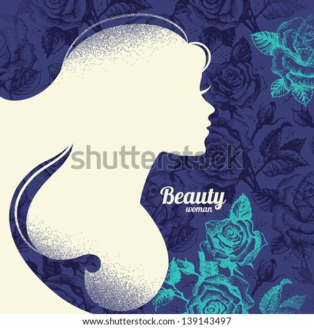 Beautiful girl silhouette. Vintage retro background with hand drawn rose flowers - stock vector
