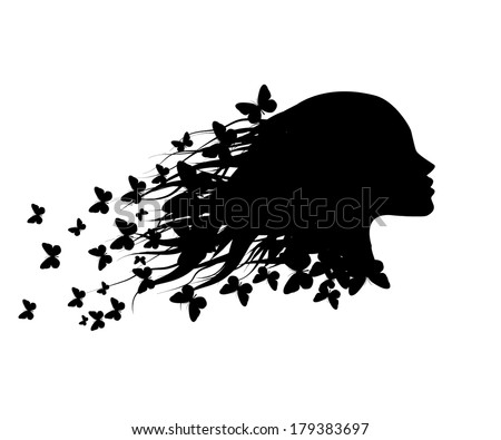 beautiful girl silhouette with butterfly. Vector - stock vector