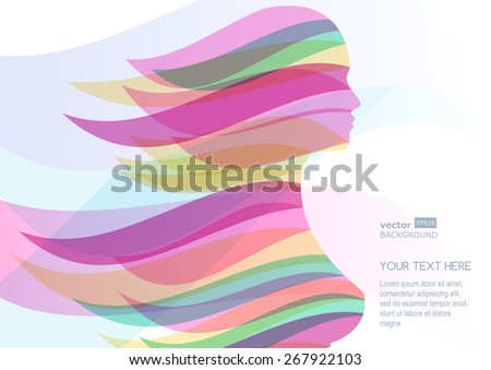 Beautiful girl silhouette with colorful streaming hair. Vector abstract background. Design concept for beauty salon, massage, cosmetic and spa. - stock vector