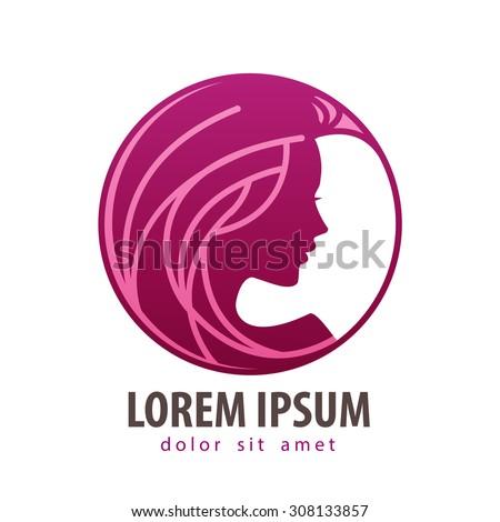 beautiful girl vector logo design template. cosmetic, makeup or young woman icon - stock vector