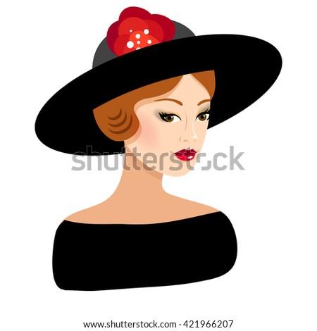 Beautiful girl wearing the hat. Fashion illustration. Elegant woman wearing the black dress. - stock vector