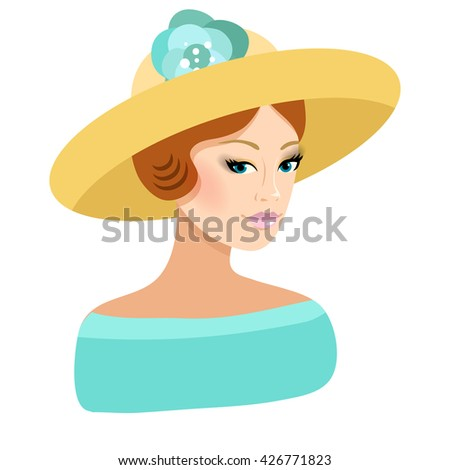 Beautiful girl wearing the hat. Fashion illustration. Summer colors.  - stock vector