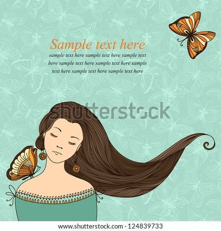 Beautiful girl with butterflies. Vector illustration. - stock vector