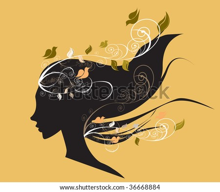 Beautiful girl with flowers in hair illustration - stock vector