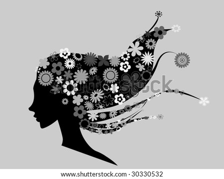 Beautiful girl with flowers in hair vector illustration - stock vector