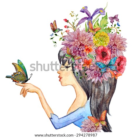 beautiful girl with flowers on her head. watercolor painting. vector illustration - stock vector