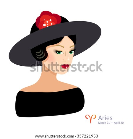 Beautiful girl with hat - aries. Horoscope. Astrology. Vector isolated illustration. Cartoon characters. Sign of the zodiac. - stock vector