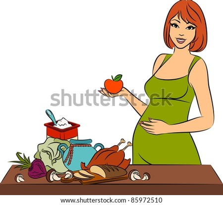 Beautiful girl with healthy meal ingredients. Vector - stock vector