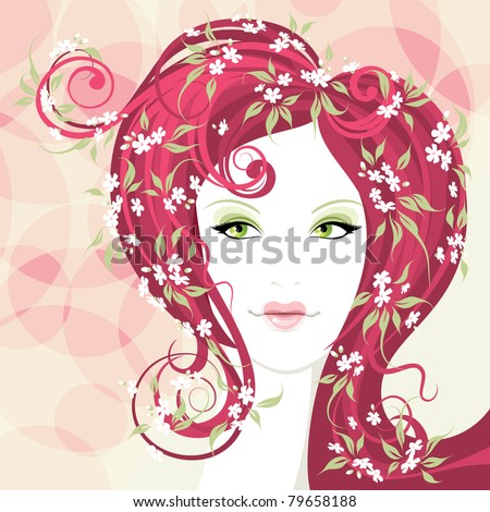 Beautiful girl with heart shaped lips and hair with flower - stock vector