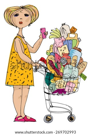 beautiful girl with smartphone pushing supermarket cart - cartoon  - stock vector