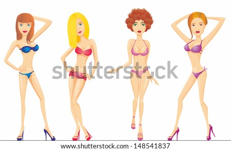 beautiful girls in swimsuit - stock vector