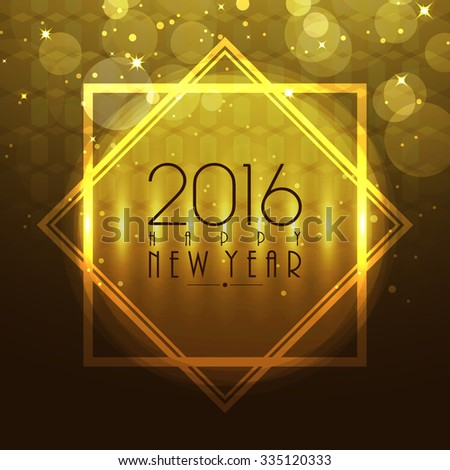 Beautiful glossy greeting card design for Happy New Year 2016 celebration. - stock vector