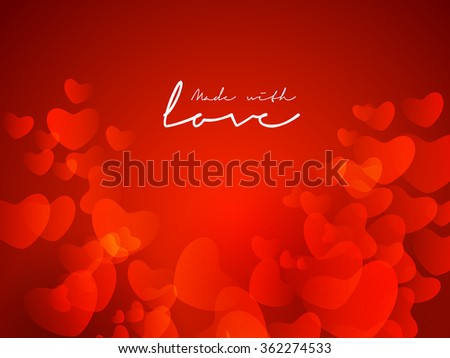 Beautiful glossy red hearts decorated greeting card and stylish text Made with Love for Happy Valentine's Day celebration. - stock vector