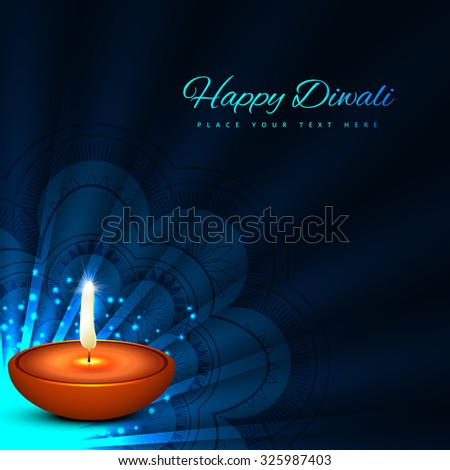 Beautiful glowing diwali festival card blue color background  - stock vector