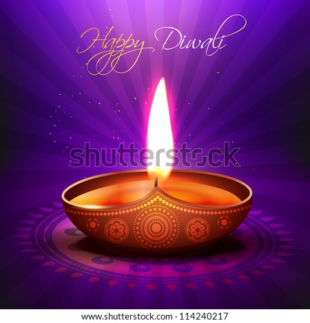 beautiful glowing vector diwali diya background - stock vector