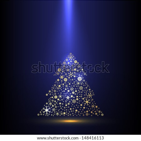 Beautiful  Gold and blue background for Christmas celebration. - stock vector