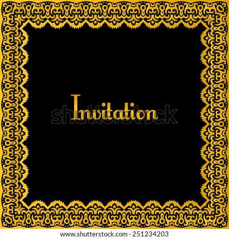 beautiful gold border in traditional oriental style - stock vector