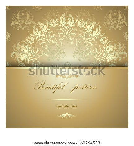 Beautiful golden floral pattern calligraphy on a brilliant yellow background with text - stock vector
