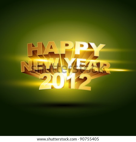 beautiful golden happy new year 2012 vector background - stock vector