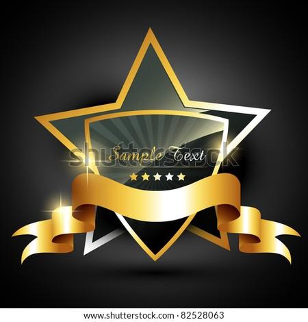 beautiful golden label style vector - stock vector