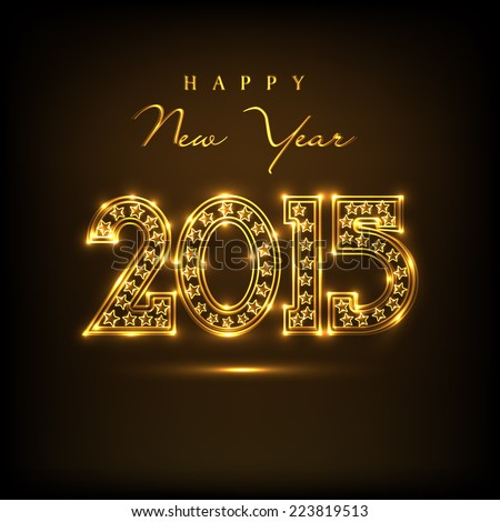 Beautiful golden text 2015 on  brown background for Happy New Year 2015 celebrations.  - stock vector