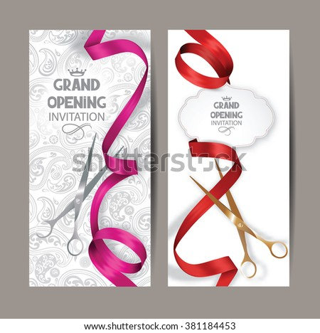 Beautiful grand opening invitation cards with red and pink silk ribbons and floral background - stock vector