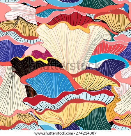 beautiful graphic pattern of colorful mushrooms