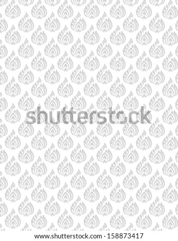 beautiful gray Thai pattern seem floral, fern, leaves, lotus and fire pattern on white background for page and ground-paper - stock vector