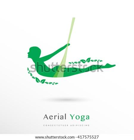 Beautiful green Aerial Yoga vector LOGO / ICON  - stock vector