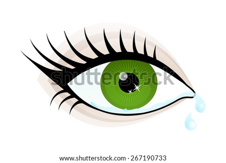 Beautiful green color woman eye cry. Simple drawing of a female crying eye with eyelashes, black pupil and the two tears flowing. vector art image illustration, isolated on a white background - stock vector
