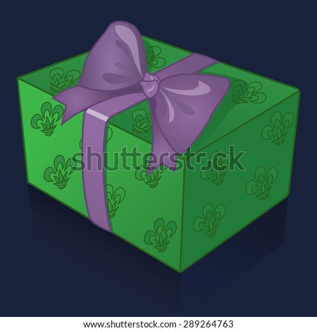 Beautiful green gift box with purple bow on a blue background vector illustration - stock vector