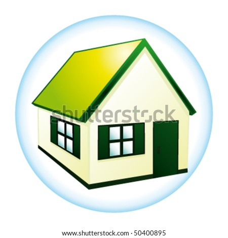 Beautiful green house for ecological dream concept. Vector icon. - stock vector