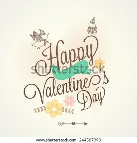 card design for Happy Valentines Day celebration. - stock vector