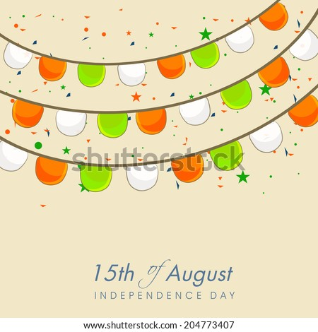 Beautiful greeting card design with balloons in national flag colors on beige background for Indian Independence Day celebrations.  - stock vector