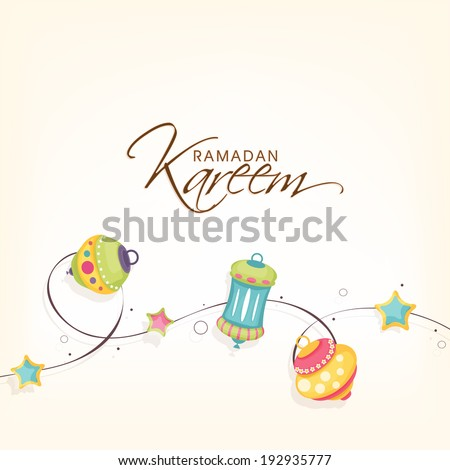 Beautiful greeting card design with colourful different styles lanterns or lamps with stars for holy month of muslim community Ramadan Kareem. - stock vector