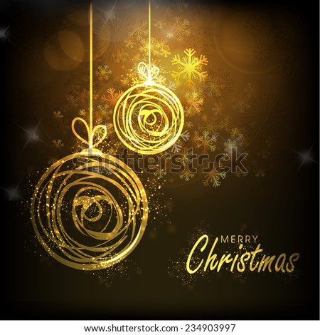 Beautiful greeting card design with golden X-mas Balls hanging on snowflakes decorated brown background for Merry Christmas celebrations. - stock vector