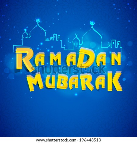 Beautiful greeting card design with illustration of a mosque on shiny blue background for holy month of muslim community Ramadan Kareem.  - stock vector