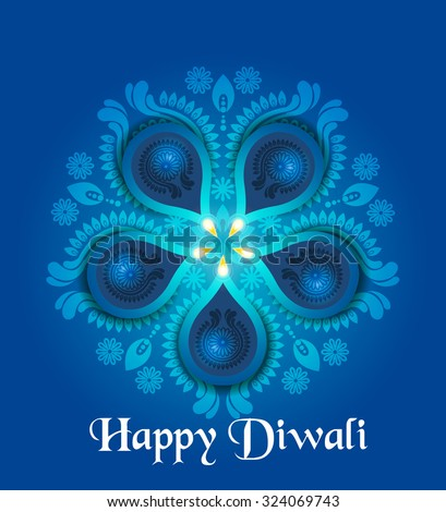 Beautiful greeting card for Hindu community festival Diwali / Happy Diwali festival background illustration / Diwali graphic design. Come with layers. - stock vector