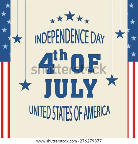 Beautiful greeting card for 4th of July, American Independence Day celebration with hanging stars. - stock vector