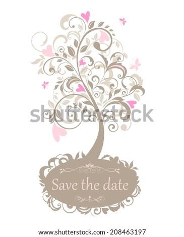 Beautiful greeting card with tree - stock vector