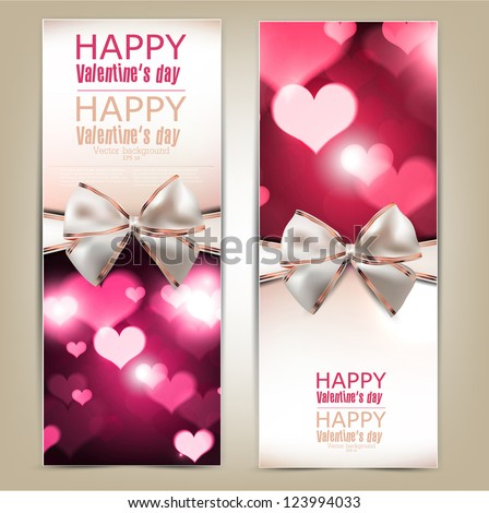 Beautiful greeting cards with white bows and copy space. Valentine's day. Vector illustration - stock vector