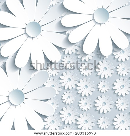 Beautiful grey background with 3d white cut paper chamomile. Trendy modern abstract background. Greeting or invitation card for life events with place for text. Vector illustration. - stock vector