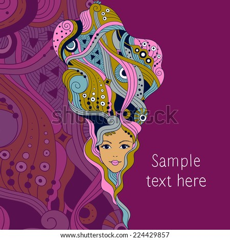 Beautiful hairstyle. Template for spa salon - stock vector
