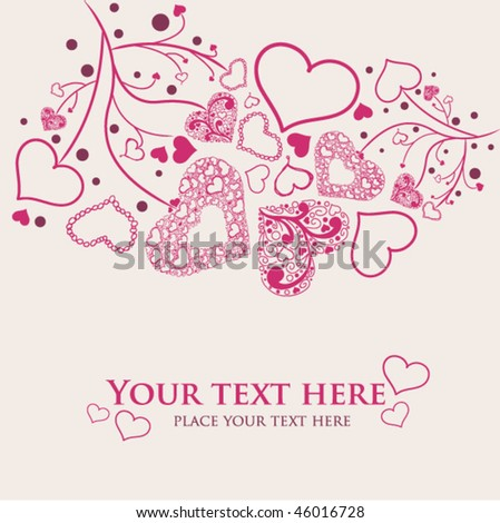 Beautiful hand draw hearts. Valentine vector card - stock vector