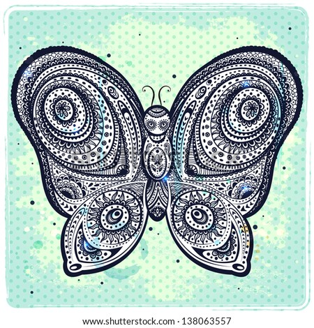 Beautiful hand drawn butterfly - stock vector
