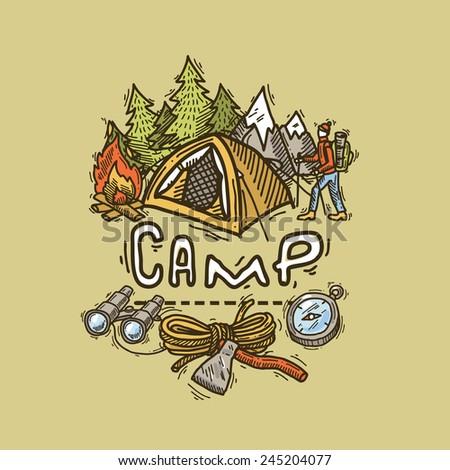 beautiful hand- drawn camp illustration  - stock vector