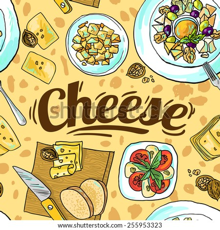 Beautiful hand drawn seamless pattern cheese top view - stock vector