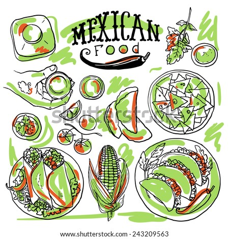 beautiful hand drawn set of mexican food illustration - stock vector
