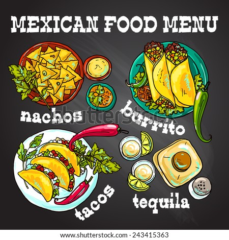 beautiful hand drawn set of mexican food illustration on the chalkboard  - stock vector